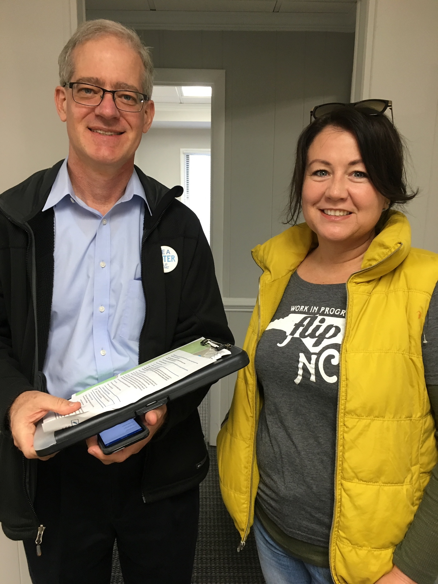 Katy, with her canvassing partner at a FLIP NC canvass last fall