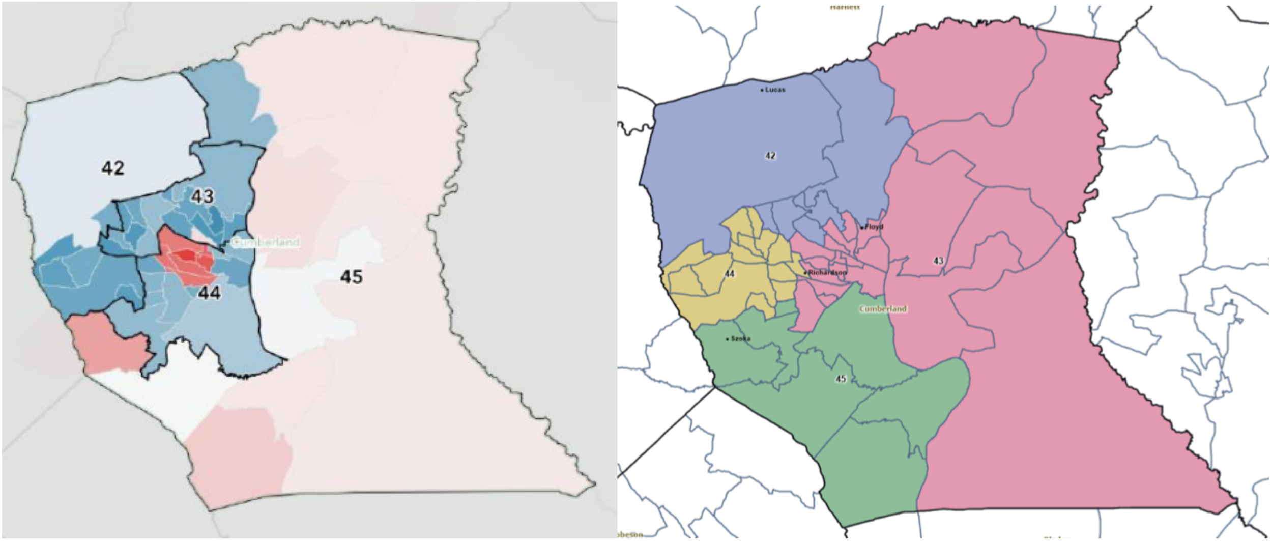 Partisan map of current district boundaries in Cumberland County v. Adopted map for Cumberland County