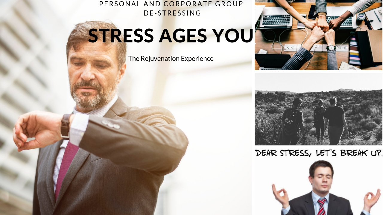 Reset your work-life to less stress - Stress ages you. Interrupt your work pattern that reduces your life, and rejuvenate. Perfect for the top executive and/or team.