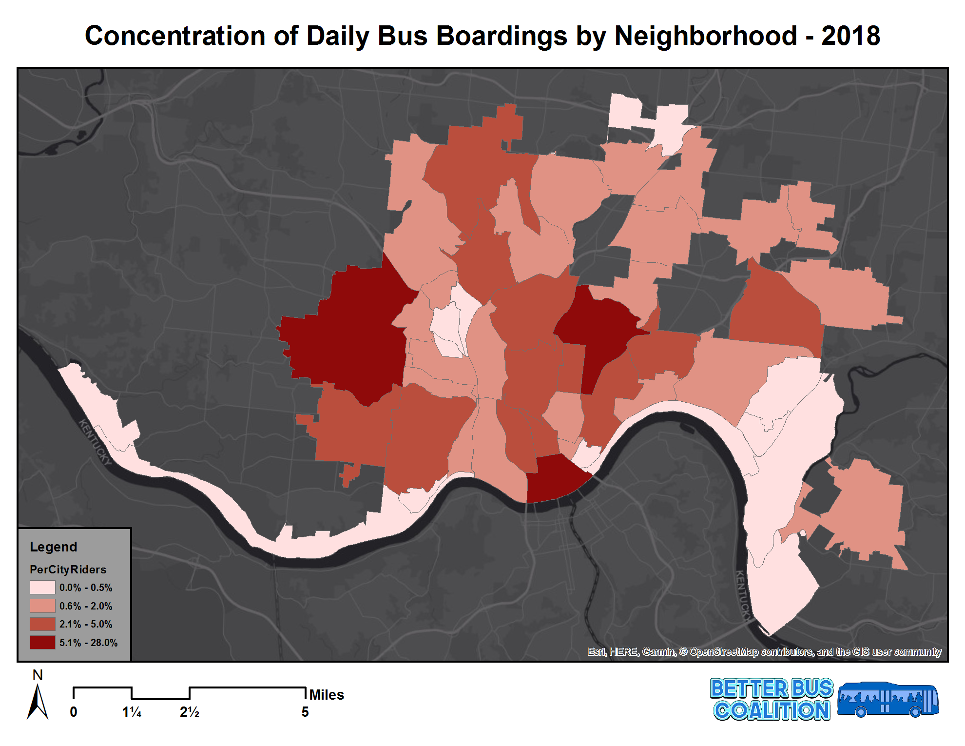 Boardings are concentrated in central and western neighborhoods  SORTA 2018