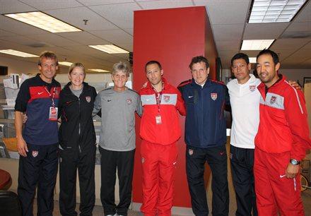 Jurgen Klinsmann, Dawn Scott (WNT Fitness Coach), Pia Sundhage, Caleb Porter (U-23 MNT Head Coach), Andreas Herzog, Martin Vasquez (MNT Assistant Coach), Eric Yamamoto (U-23 MNT Assistant Coach)