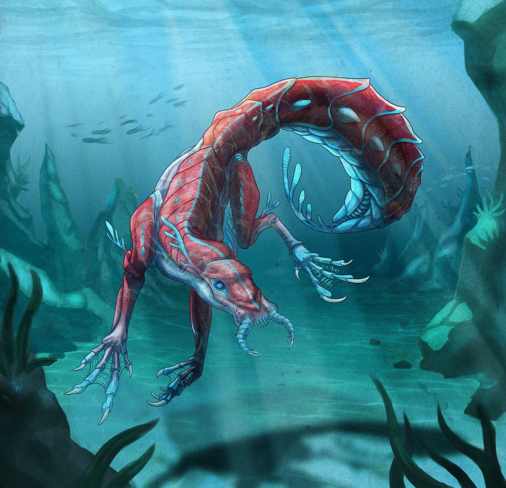 """Poisonous Dog Shrimp"" - digital creature design & semi-realistic illustration"