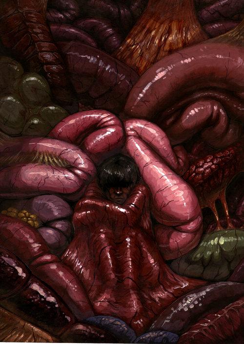 """Gut Feelings"" - acrylic painting on illustration board"