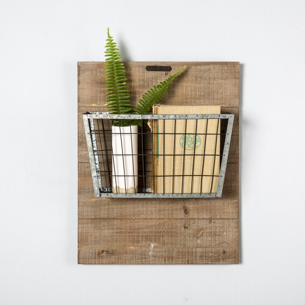 Magnolia Wood Mounted Metal Basket