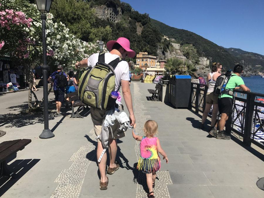 Flat seaside boardwalk in Monterosso al Mare.