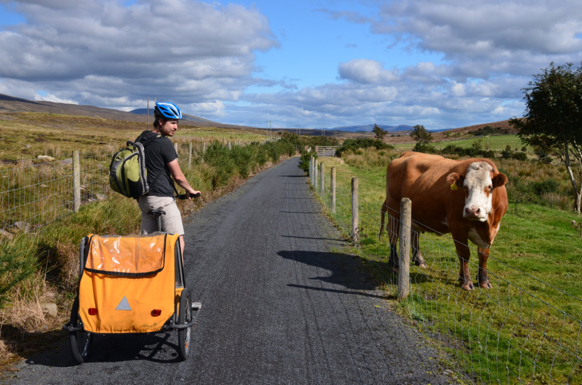 Riding the Great Western Greenway in County Mayo near Westport,Ireland