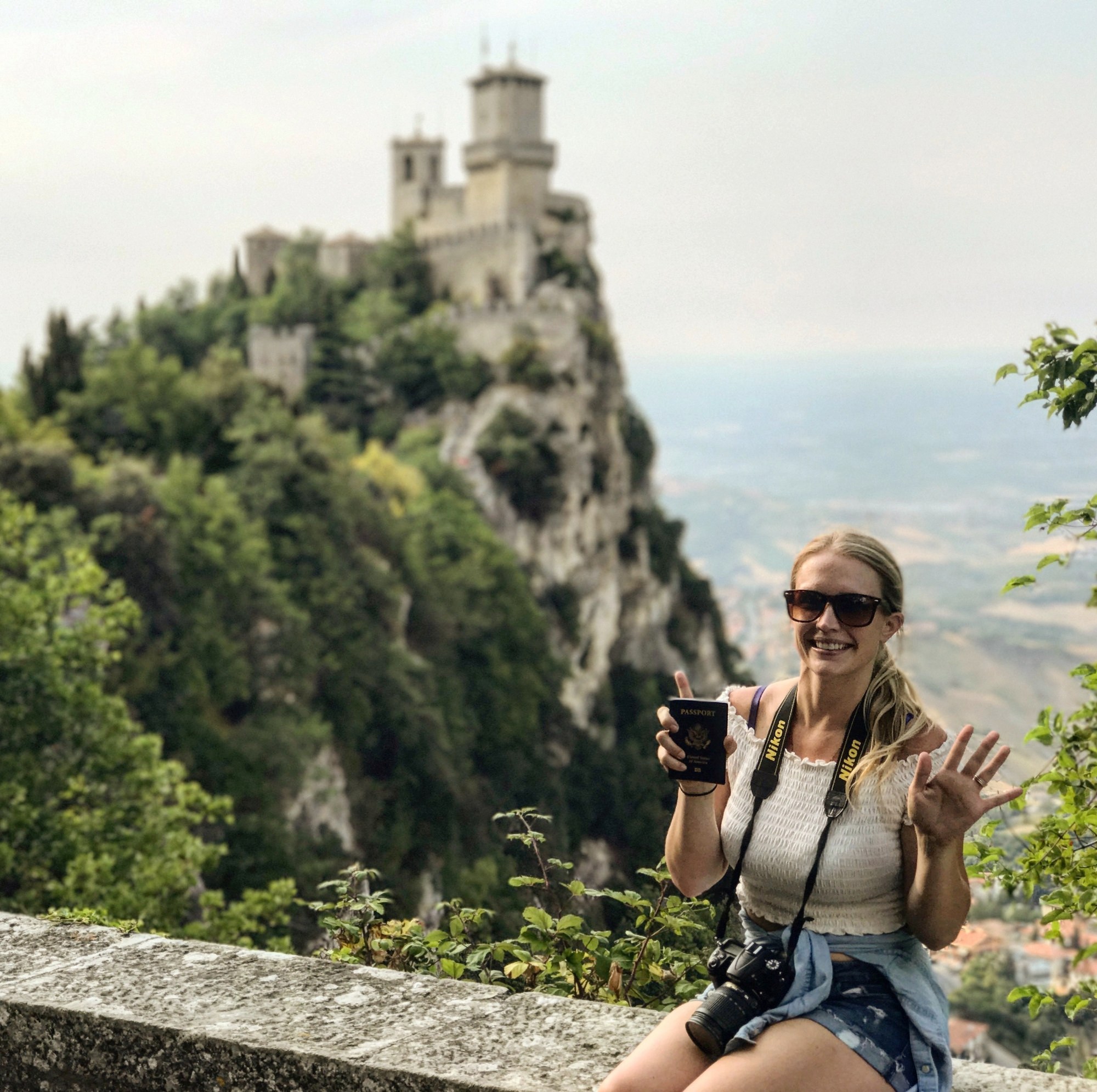 Chelsea getting her 15th passport stamp in San Marino in July 2017.
