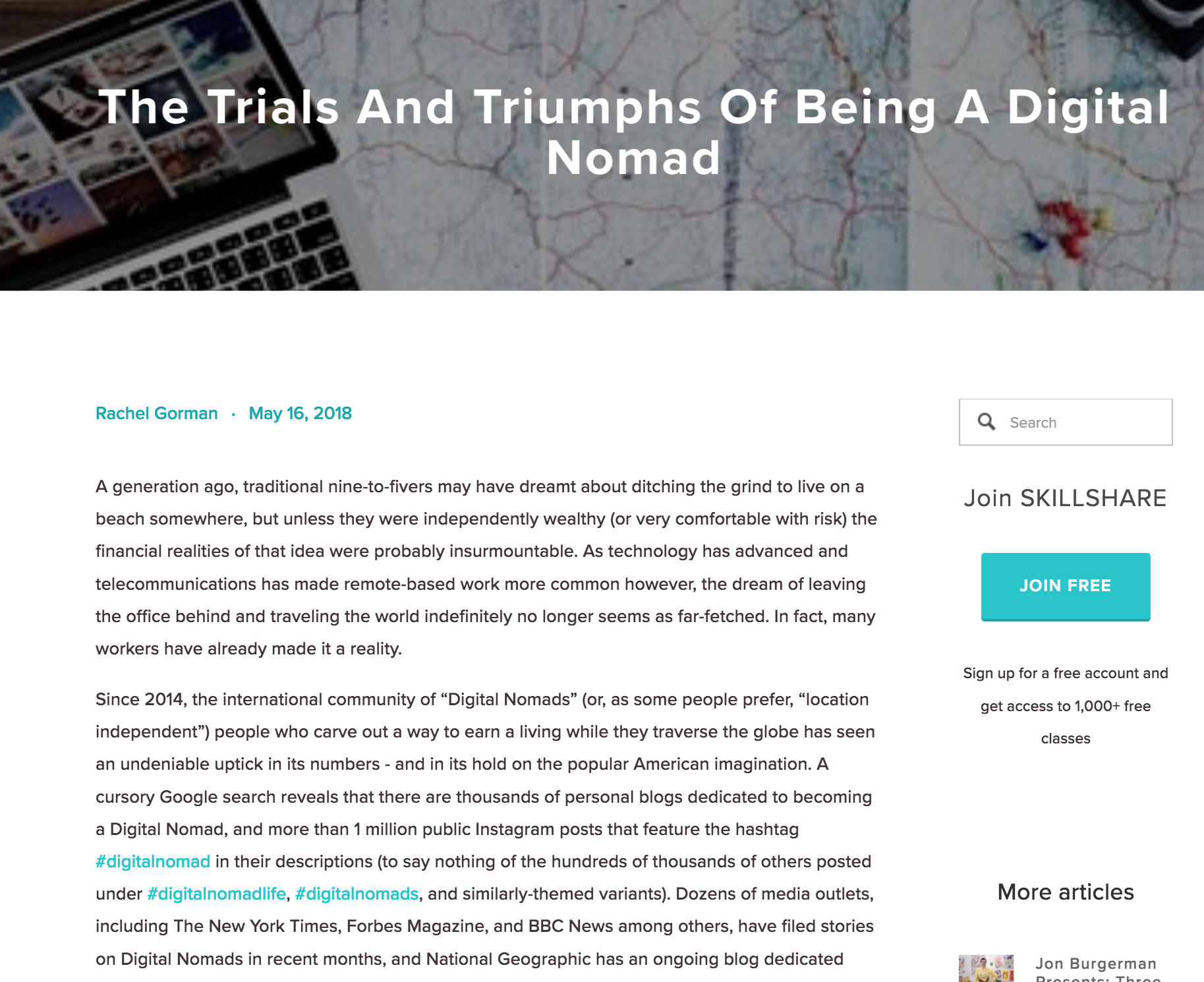 Skillshare in the media digital nomad
