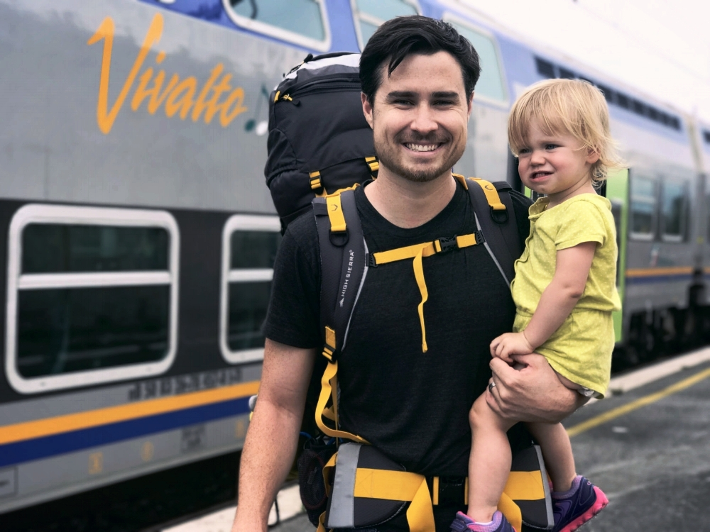 Matt holding 20-month-old Kailen during a transition day from Lucca, Italy to Riomaggiore.
