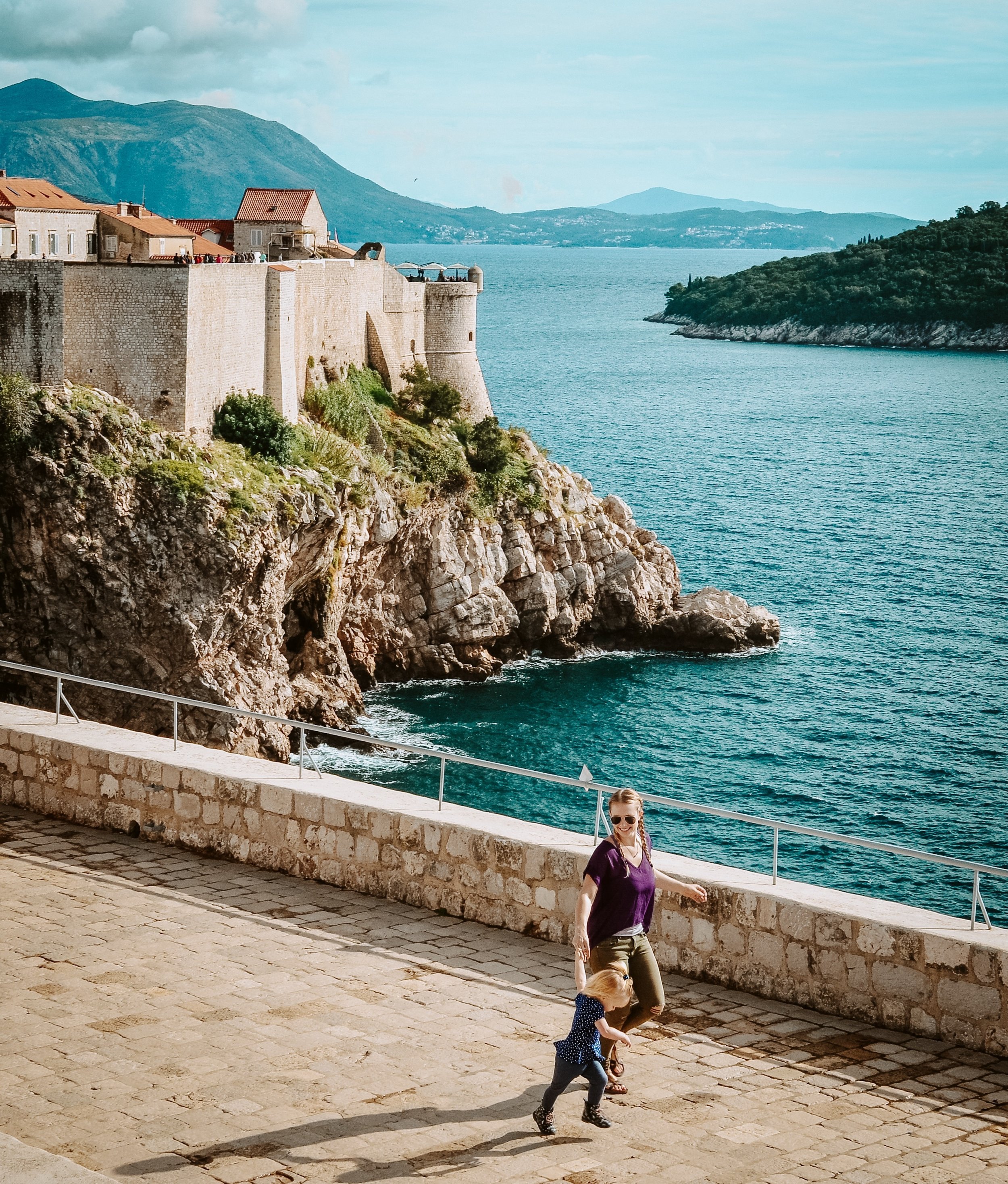 Kai and I opting for fashionable neutral-color pants in Dubrovnik, Croatia.