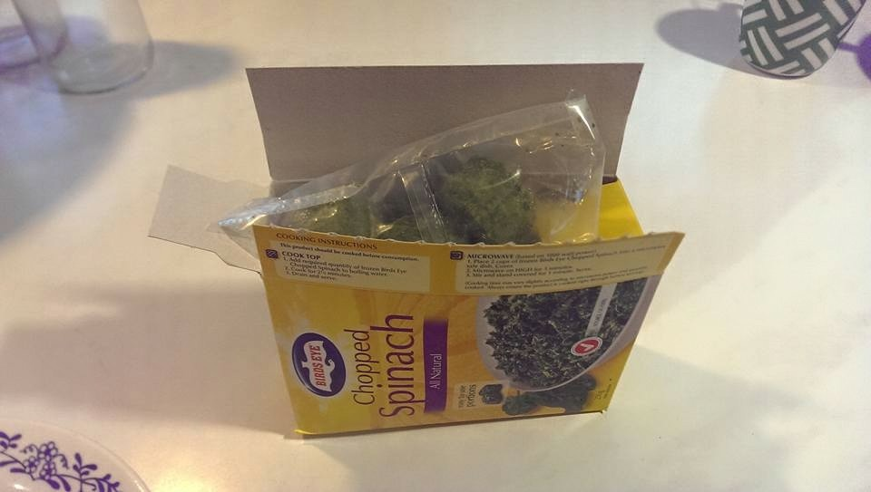 Plastic free fails, plastic bag lining for spinach. Image supplied by Rebecca Kelley.