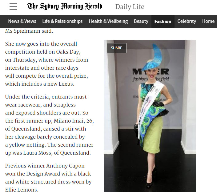 Melbourne Cup 2014: Fashions convert goes from kaftan to structured couture - Deborah Gough, The Sydney Morning HeraldNOVEMBER 4. 2014It took a rip in a Camilla kaftan to bring out the winning entry in the Myer Fashions on the Field competition.Winner Christine Spielmann, 28, said she was given her blue-green kaftan (a David Jones held label) as a 26th birthday present. She