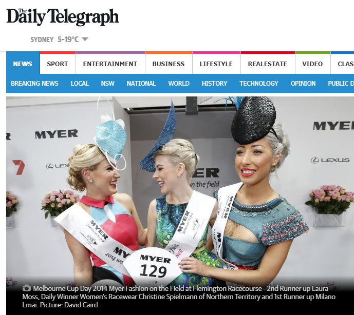 "'Team Darwin' takes out top fashion honours at the Melbourne Cup - JILL POULSEN, NT NewsNovember 4, 2014TERRITORY woman Christine Spielmann has taken out the 2014 Melbourne Cup Fashions on the Field, making it the second consecutive year a Top Ender has won the accolade.The 28-year-old admin assistant from Darwin was the runner-up in last year's event and said she absolutely chuffed to win this year.""You always think your outfit is lovely but as soon as you get on the stage with people whose outfits are just as specular you think I've got no hope in hell,"" she told the NT News from Flemington.""It's just amazing.""The vibrant, asymmetrical design was crafted by born and bred Darwin designer Nadia Foti and was made from the material of a kaftan Christine was given for her birthday.To read more go to:http://www.dailytelegraph.com.au/news/team-darwin-takes-out-top-fashion-honours-at-the-melbourne-cup/news-story/4e6149f001f307a4945f49793caa71d0"