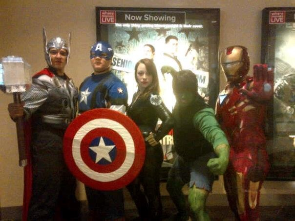 Tori and friends at the premiere of The Avengers (2012)