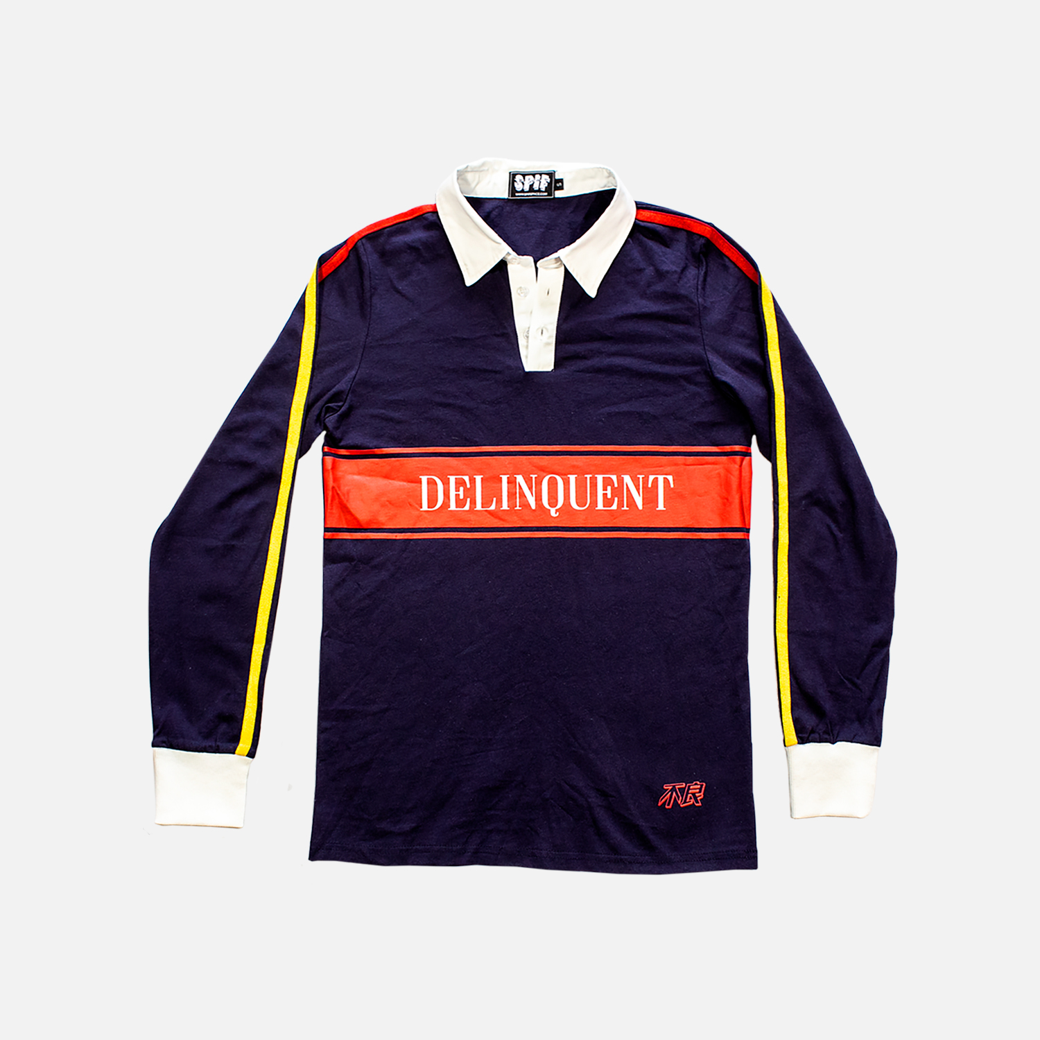 DELINQUENTRUGBY TEE - YELLOW AND RED CONTRAST SIDE TAPING[$50]
