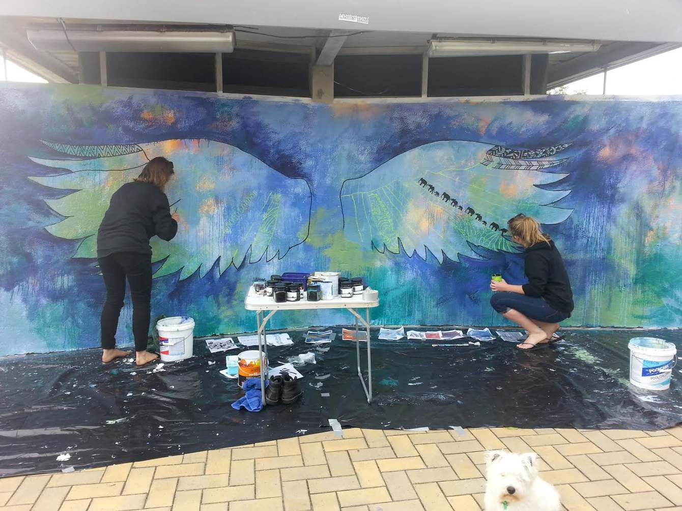 downtown_tauranga_wings_mural_progress
