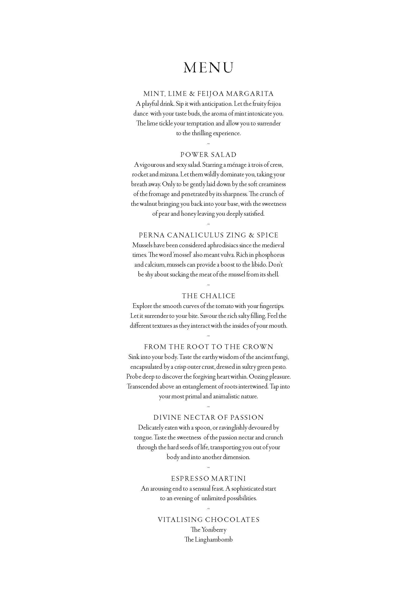feast of the senses menu