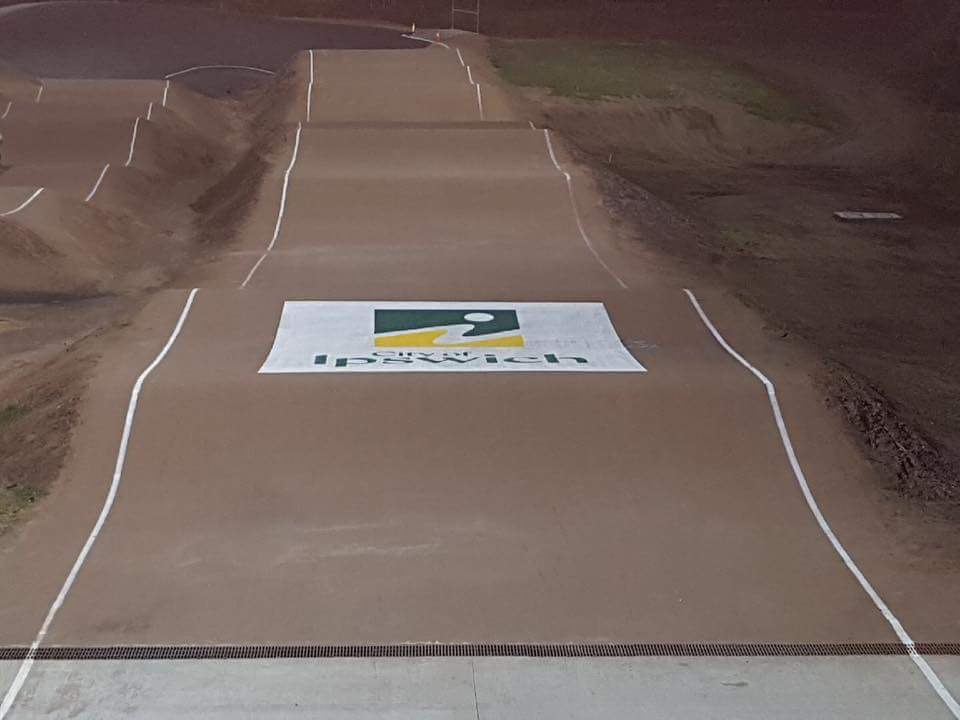 IPSWICH CITY COUCIL BRANDING THEIR NEW TRACK WITH THIS FRESHLY PAINTED LOGO!