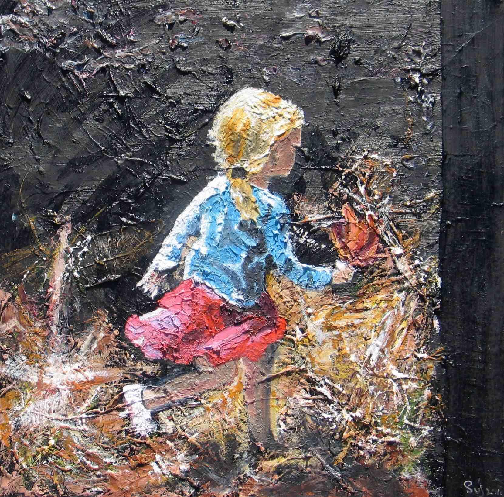 Lillie's Secret Garden : 46 X 46 oil on canvas with palette knife