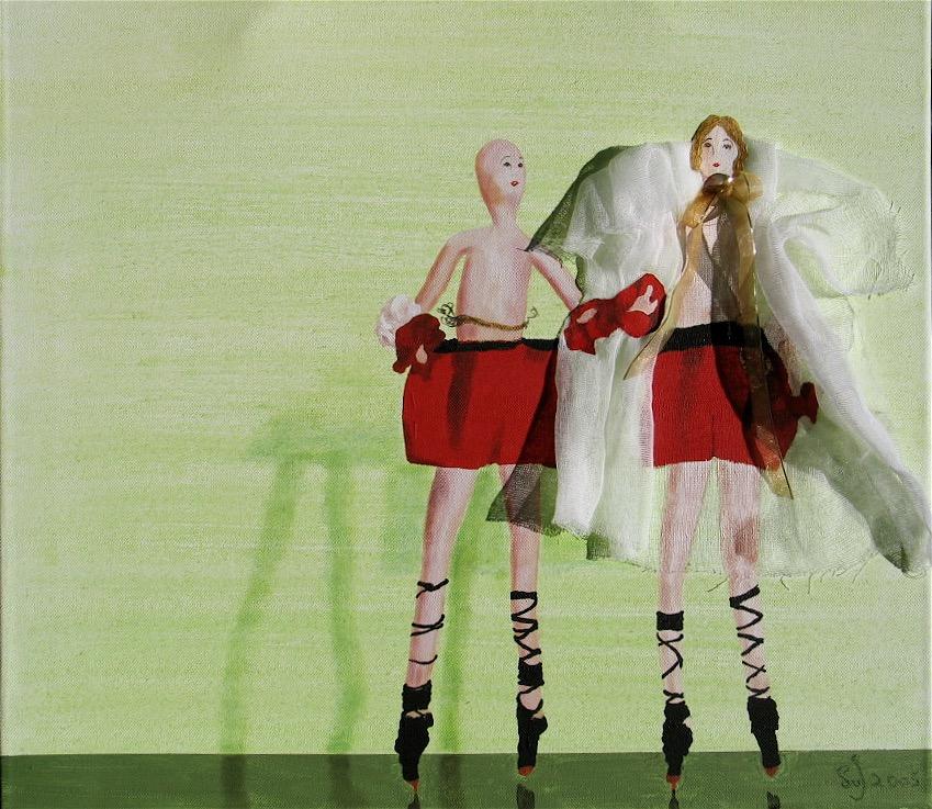 The Wedding : 50 X 65 cm acrylic + fabric on canvas