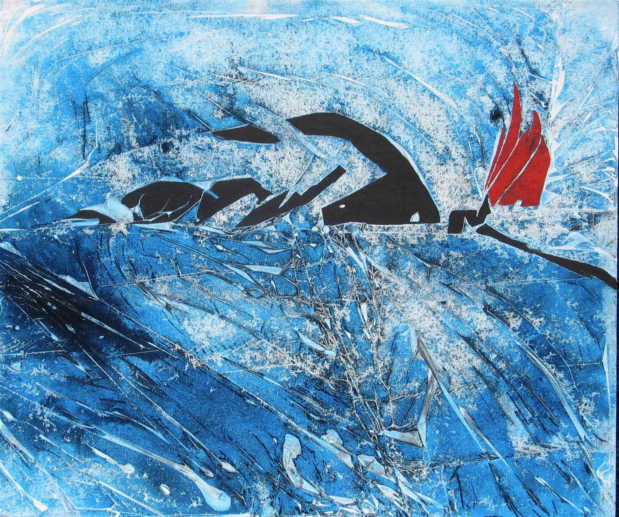 The Swimmer : 60 X 50 cm acrylic on board