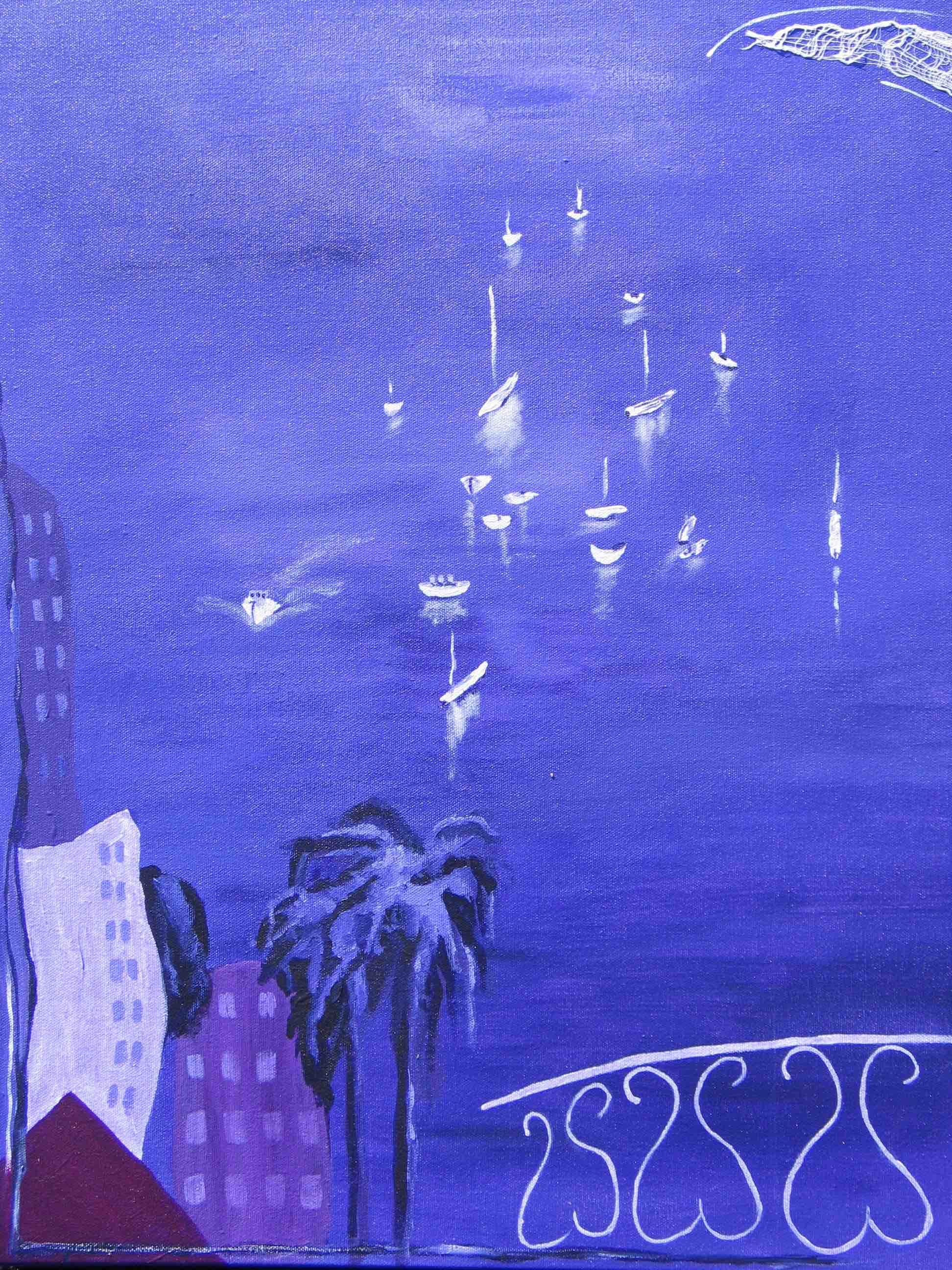 Lavender Bay : 50 X 60 acrylic + fabric on canvas