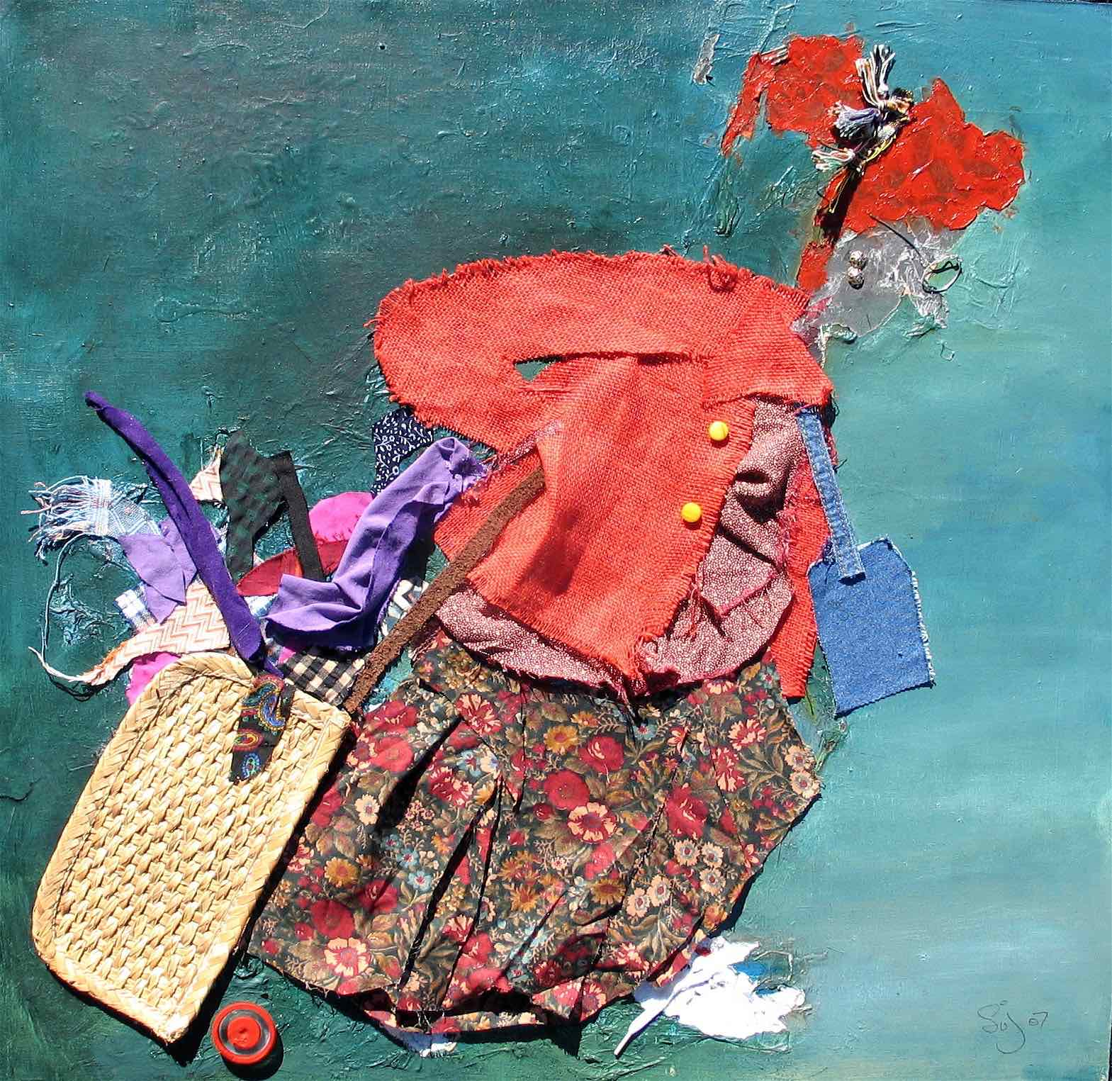 The Bag Lady : 60 X 60 cm oil and collage on board