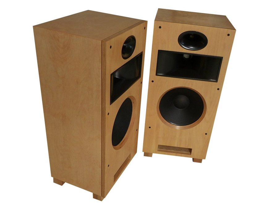 Birch plywood, sanded smooth, with clear satin lacquer finish applied, exposed plywood edges, satin black paint on horns.