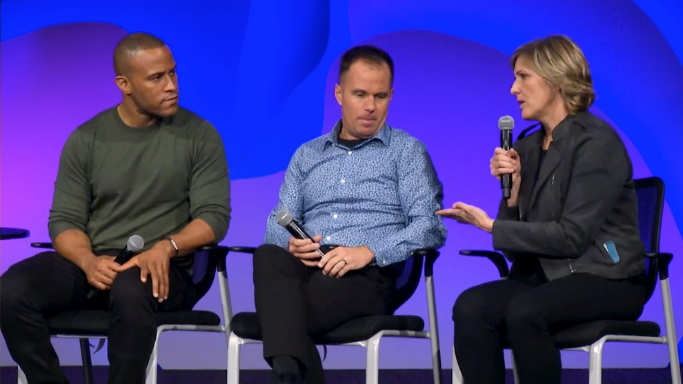 DeVon Franklin, from left, Jeff Lockyer and Danielle Strickland participate in a panel discussion with the Willow Creek Association near Chicago.