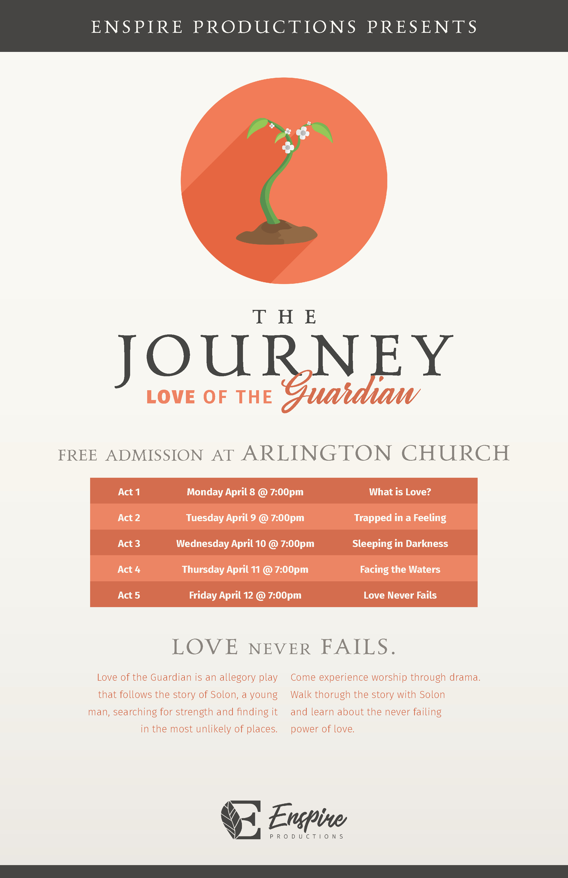 """THE JOURNEY: THE LOVE OF THE GUARDIAN   Burton Adventist Academy Drama in collaboration with Enspire Productions is excited to present their next theatrical production. Set in an allegorical world-   The Journey: The Love of the Guardian   explores the true meaning of love and sacrifice. Every evening, on April 8-12, at 7:00PM at the Arlington Seventh-day Adventist Church, 4409 Pleasantview Drive, Arlington, TX 76017, a different chapter of the story will be presented. Please join in this dramatic series exploring the great controversy and how humanity responds when asked the question, """"What is Love?"""""""