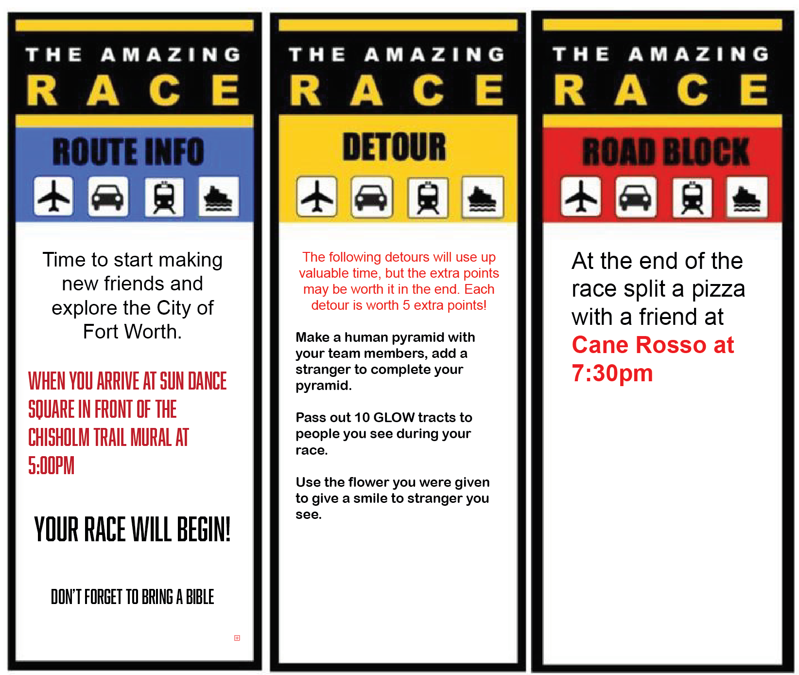 AMAZING RACE // ROUTE INFO // MAY 18 5PM