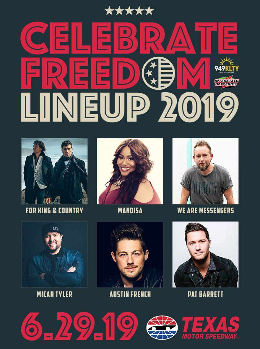 YG @ CELEBRATE FREEDOM 2019 // JUNE 29TH   Join Younger Generation Church and thousands of other Texans at the 2019 Celebrate Freedom Concert in Fort Worth. The event is on June 29, 2019 and is free. For King and Country will headline the concert and YG Church will be there!  Ticket Info: Celebrate Freedom is a free event, however, tickets are required. Email info@ygchurch.com for more information and  RSVP at fb.ygchurch.com . Once you  RSVP , you will be connected to the group coordinator and will receive your digital ticket from her. Please note that parking is $15 and carpooling is encouraged.  Please visit http://www.celebratefreedom.com/cfdfaq for event specific facts and questions.  Celebrate Freedom will be hosted at Texas Motor Speedway in Fort Worth. Gates open at 2:00 PM and the concert begins at 3:00 PM. YG will meet at the Arlington Adventist Church at 1:00 PM to carpool to the event. In order for us to reserve your free ticket, it is important that you RSVP and connect with the group coordinator prior to June 29. Below are addresses for both Arlington Adventist Church and Texas Motor Speedway.  Arlington Adventist Church, 4409 Pleasantview Drive, Arlington, Texas 76017  Texas Motor Speedway, 3545 Lone Star Circle, Fort Worth, Texas 76177  For group specific questions, feel free to contact the group coordinator, Melinda Pandiangan, by emailing melinda.pandiangan@gmail.com or calling 404-731-8167.