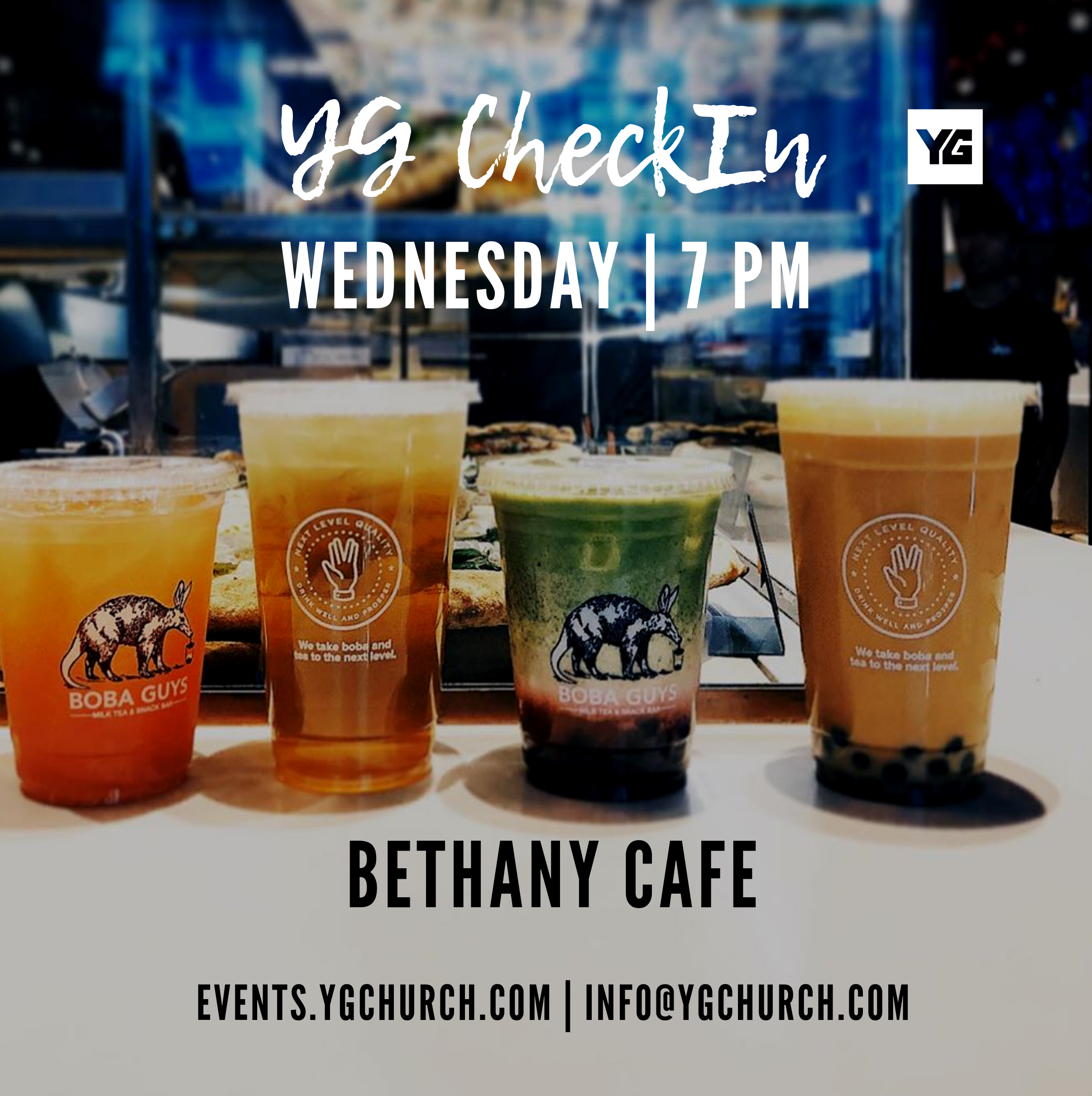 """YG CHECKIN SEP 4TH • 7PM • BETHANY CAFE   Join YG CheckIn for food, coffee and conversations. YG CheckIn is switching its meeting location to Bethany Cafe in Arlington, Texas. This new location will provide a great opportunity to meet new people while taking a break from your busy week. This group provides a """"come and go"""" atmosphere meaning that you are welcome to stop by anytime between 7:00 PM and 9:00 PM.   YG CheckIn: YG CheckIn is a LIFEgroup sponsored by Younger Generation Church in Arlington, Texas. The group provides a great point of contact for DFW community members interested in connecting or learning more about Younger Generation Church.   Specific meeting dates are available at  events.ygchurch.com.  Email info@ygchurch.com for more information.  Bethany Cafe 705 W Park Row Dr Arlington, Texas 76013 817-461-1245  YG CheckIn Contact: For LIFEgroup specific questions, feel free to contact the YG CheckIn coordinator, Dominique Garcia, by emailing dominique_11@live.com or calling 817-964-0778. General inquiries may be directed to Tim Kosaka, Younger Generation Church's Director of Public Relations, at tim@YGChurch.com."""