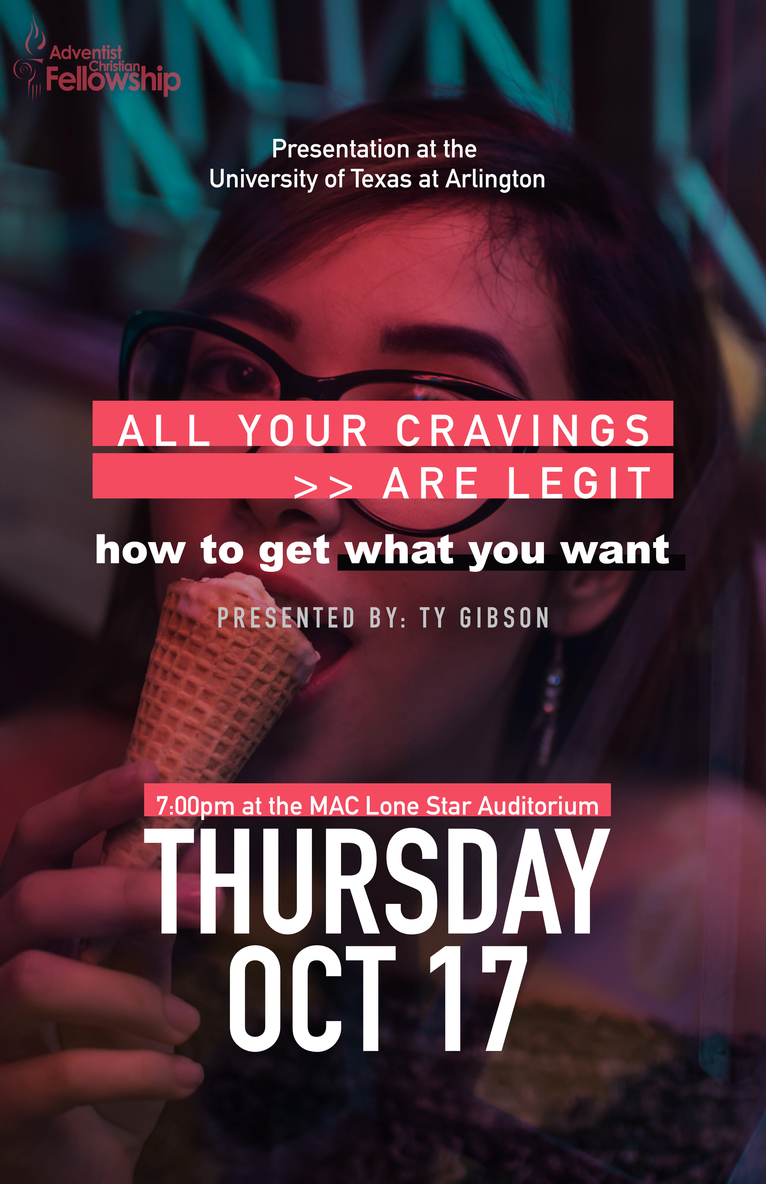 """How To Get What You Want [All Your Cravings are Legit] October 17, Thursday, 7:00PM  Maverick Activity Center [MAC] – Lone Star Auditorium, University of Texas Arlington 500 West Nedderman Drive, Arlington, TX 76013  Free event registration:  http://bit.ly/acfoct17  For free parking:  http://bit.ly/eventParking19  Facebook:  https://www.facebook.com/events/1132500343805789/   If you are wondering how to conquer your spiritual thirst in the 21st Century, this is the talk to help you get what you want. Presented by Ty Gibson. Collegians, graduate students, and young adults are especially invited to this free event.   Ty Gibson : Raised with a purely secular worldview and having witnessed evil and suffering firsthand, Ty Gibson was completely opposed to the idea of a Supreme Being. """"If God exists,"""" he reasoned, """"He would have to be cruel to have made a world like ours."""" At age 18, Ty encountered the reality of God's existence. We humans were born in a war zone, and there are two opposing cosmic powers battling for our hearts. Love has gained the ultimate victory, but the war is still raging. Ty, co-director of Light Bearers, has committed his life to sharing the truth of God's character with as many people as he can."""