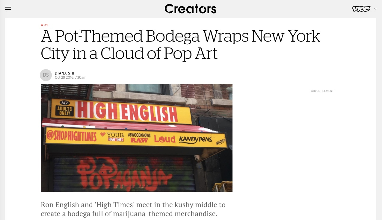 VICE feat. our Bodega tho - i was blessed to handle the PR launch, media relationships, talent and event production for High Times magazine merchandise launch, which included overseeing the Cannabis Bodega Pop-Up Shop in the LES. it was amazeballs.Read about it: https://creators.vice.com/en_us/article/pot-themed-nyc-bodega-high-times-streetwear