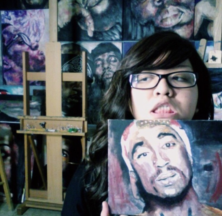 Mariella Angela  with her first painting of Tupac (2014).