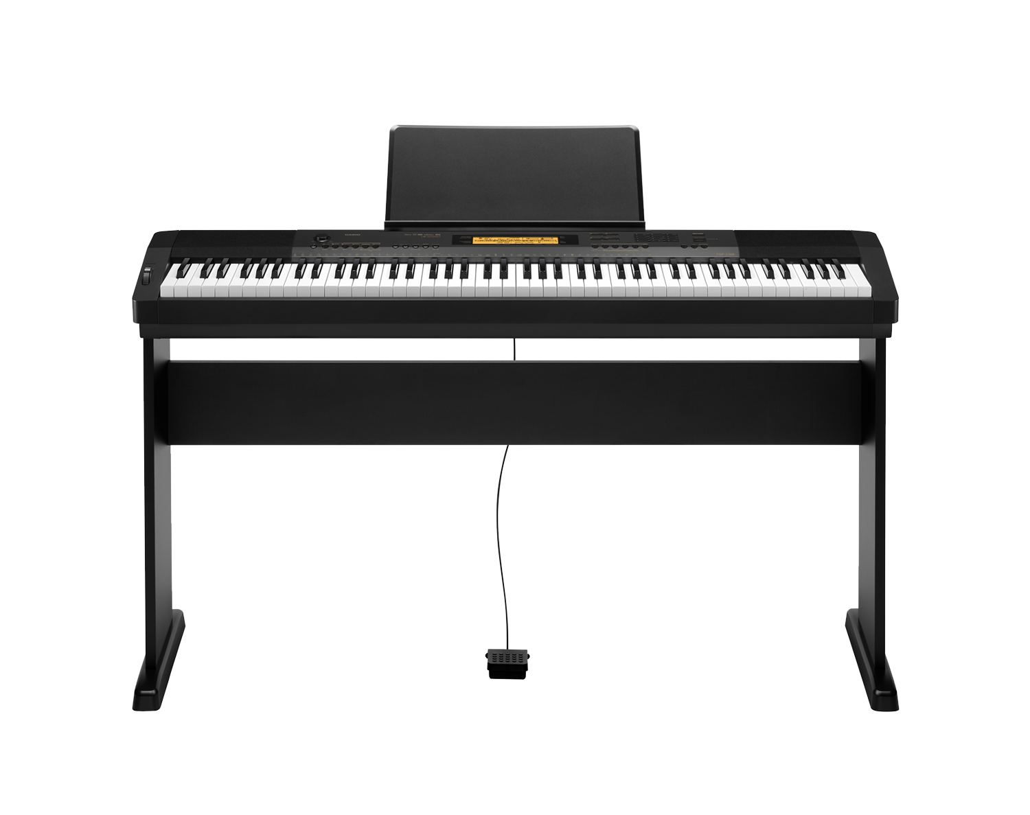 Casio CDP-230RBK Compact Digital Piano stand front