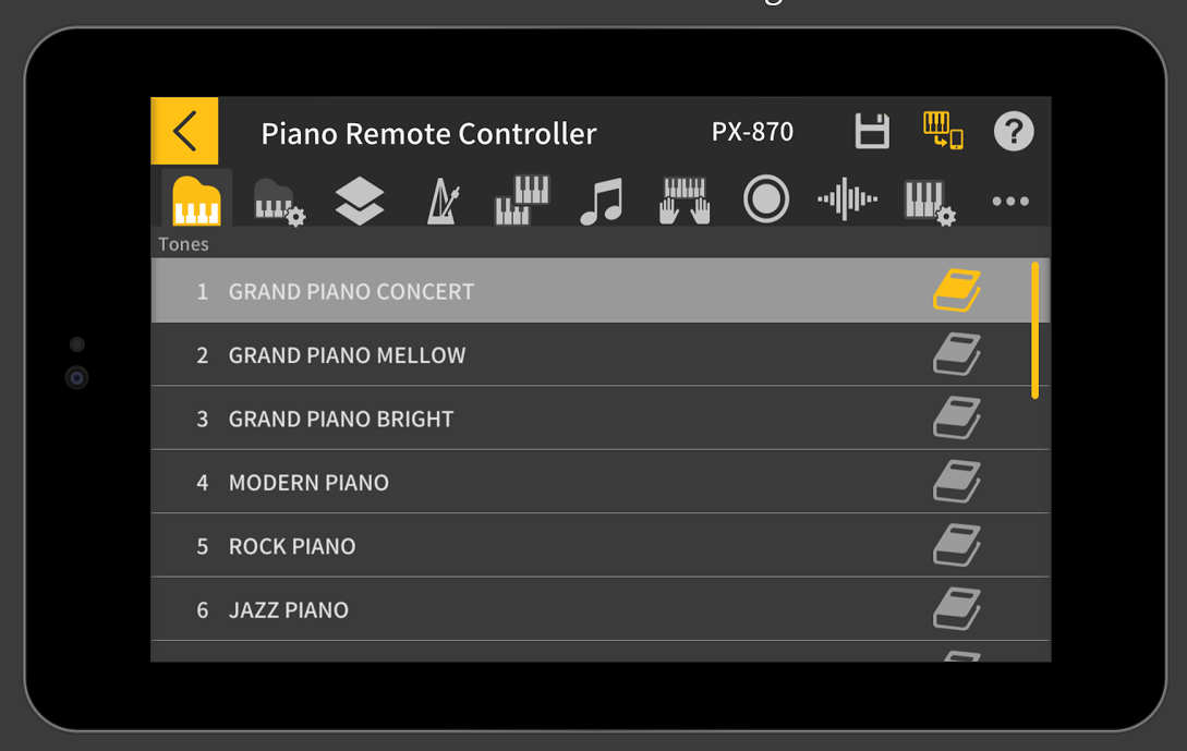 connect an ios and android device to control tHE PX-770 functions remotely, or play musical games.