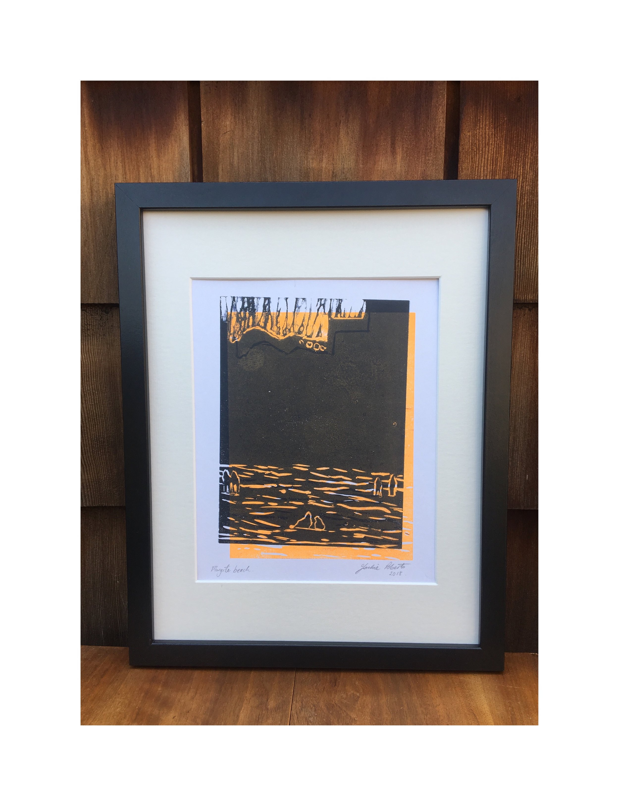 'Margate Beach' Lino-cut print in orange (2018) Framed. Large 31 x 39 cm