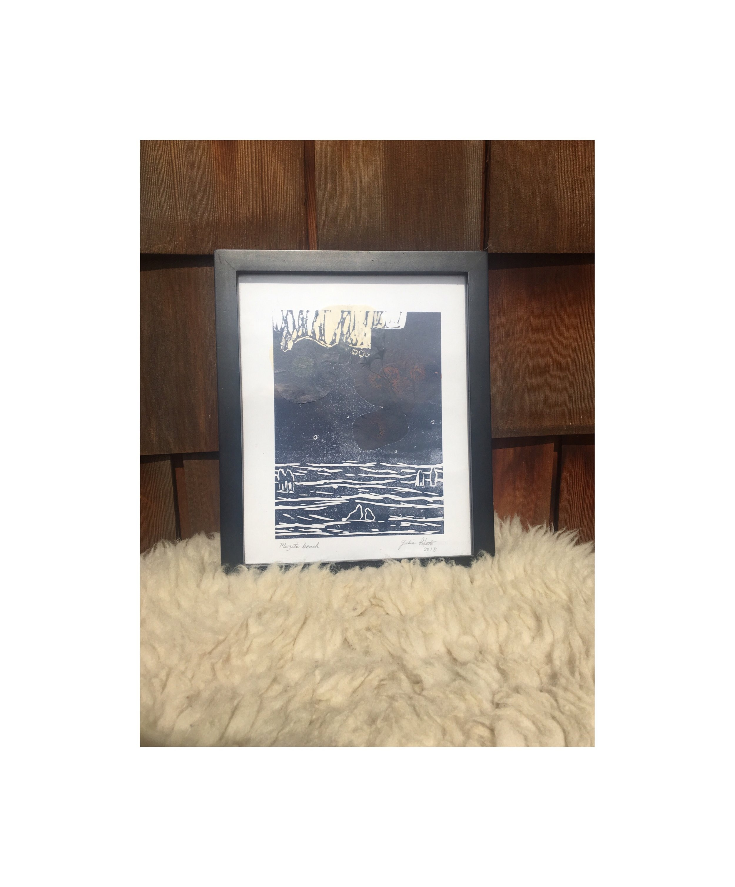 'Margate Beach' Lino-cut print in blue with collage (2018) Framed. Small - 24 X 29 cm