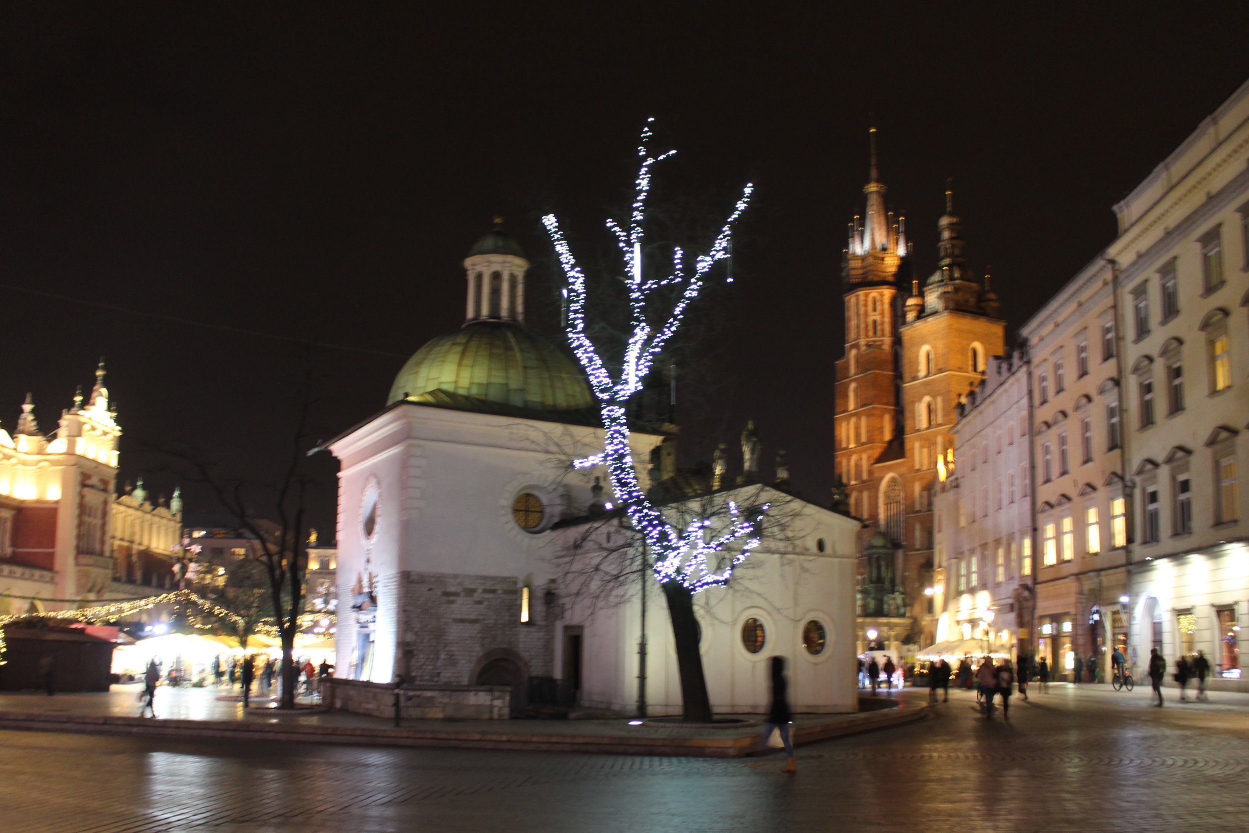 Looking towards the main market square, our first night in Krakow.