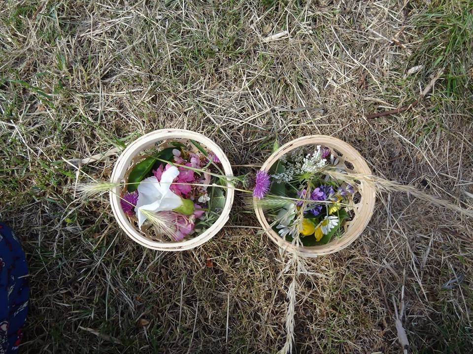 Collected flowers for making a sun catcher