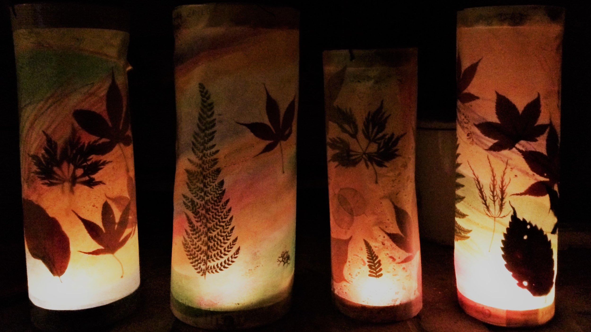 making martinmas leaf lanterns