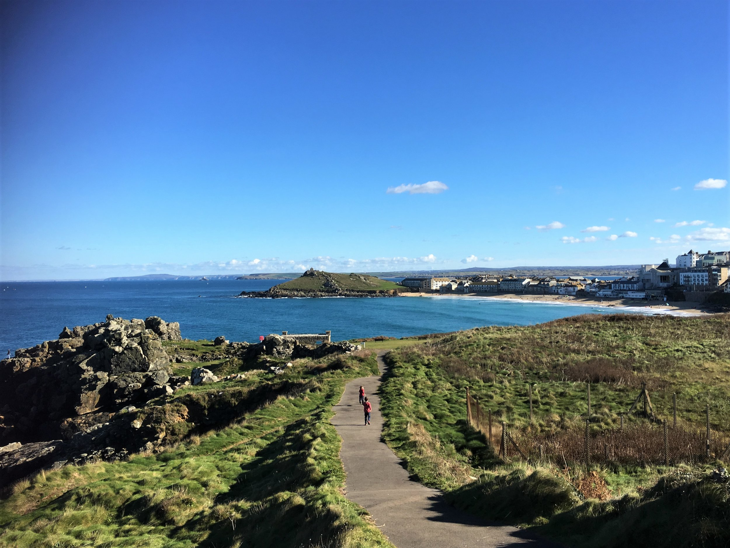 Running down to St Ives beach
