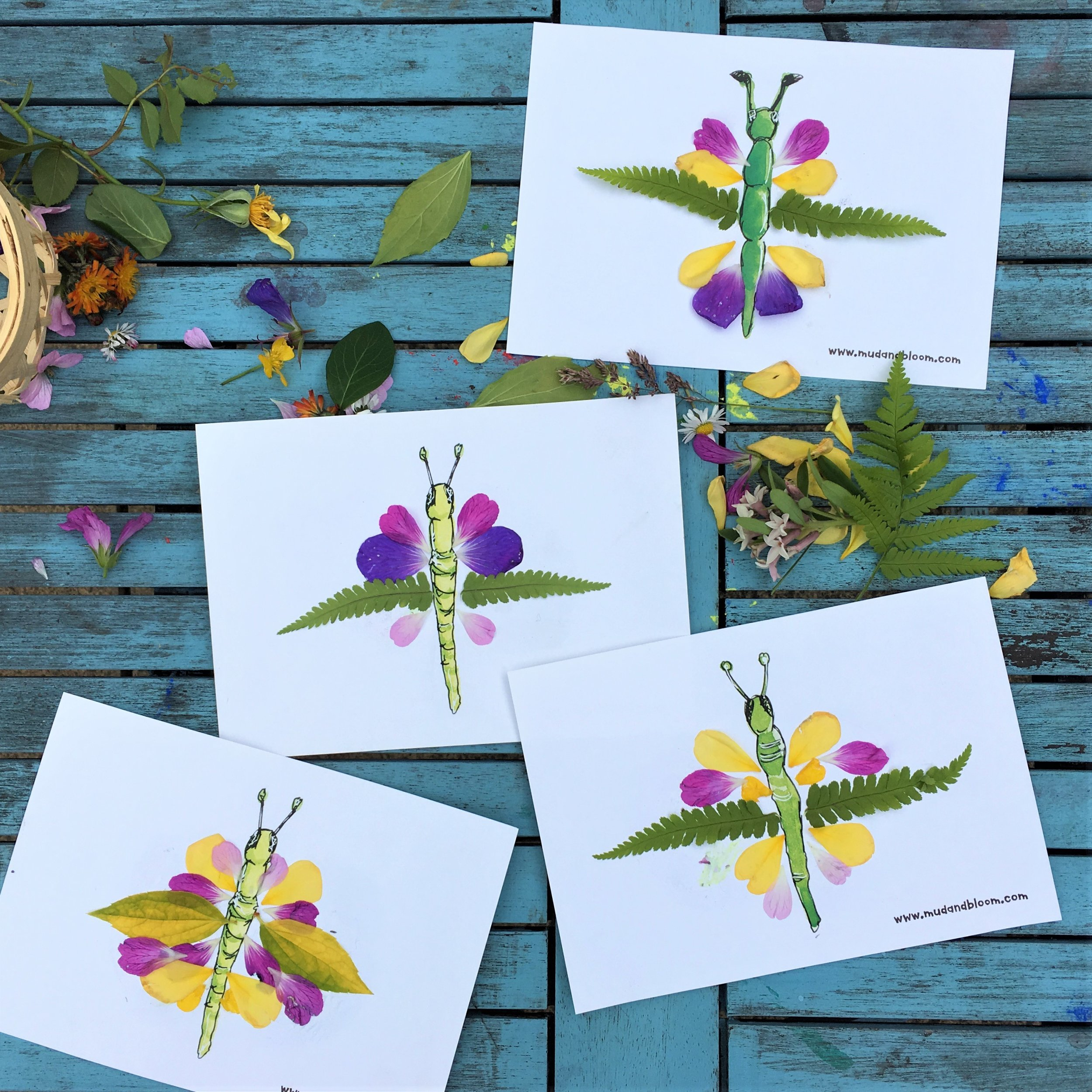 Nature crafts making butterfly petal pictures