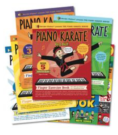"""Piano Karate Series - Many finger exercise books do just that - exercise fingers. These books go beyond just finger exercises, urging students to flex their brains and imaginations, while gaining valuable skills and learning the power of patterns. Let your """"karate master"""" teach you about chords, arpeggios and more while you work your way to the ultimate challenge - your belt test. These books prove that finger exercises can be FUN!"""
