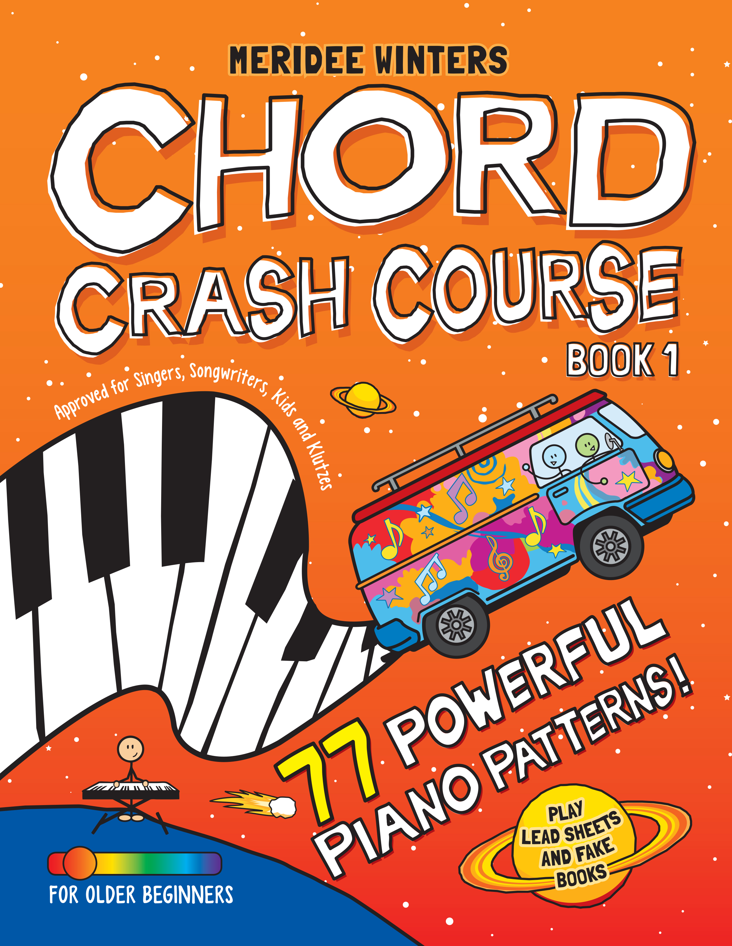 "Chord Crash Course - Meridee's ""Chord Crash Course"" provides piano students with essential musical skills, great results and a strong foundation for their own creativity. Before creating the MW School of Music, Meridee Winters owned a recording studio. She found that many vocalists could not play piano or guitar, and as a result, could not write a song on their own! As a solution, Meridee developed a ""crash course"" that gave them the chord theory and skills they needed, helping hundreds of musicians become better writers and performers. Years later, Meridee began teaching piano to children, and found that her ""Chord Crash Course"" was a great tool for students of all ages. The end result is a music book unlike any other, designed to provide you with great results and a strong foundation for your own creativity."