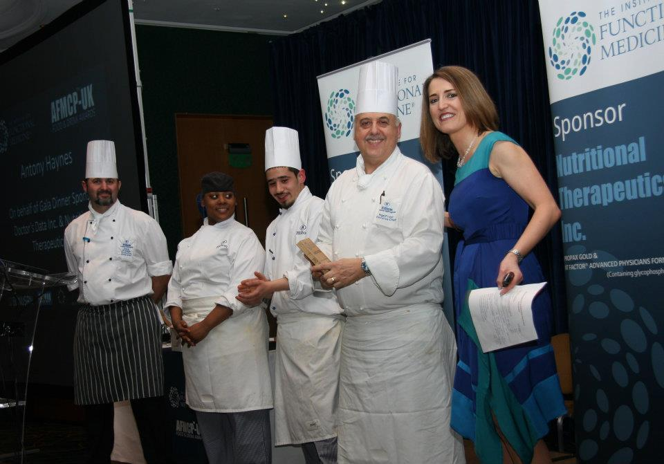 Hilton Metropole Executive Head Chef Nigel Frost and his team receiving an award for catering excellence at AFMCP-UK 2012.