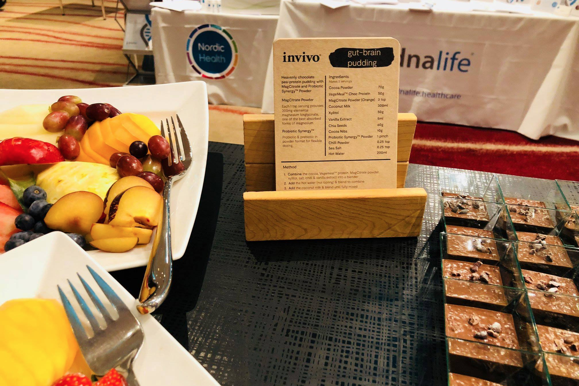 Park Plaza London Riverbank chefs prepared Invivo's 'gut-brain' puddings for delegates at the 2018 AFMCP-UK, containing chocolate pea protein, MagCitrate and Probiotic Synergy powder.