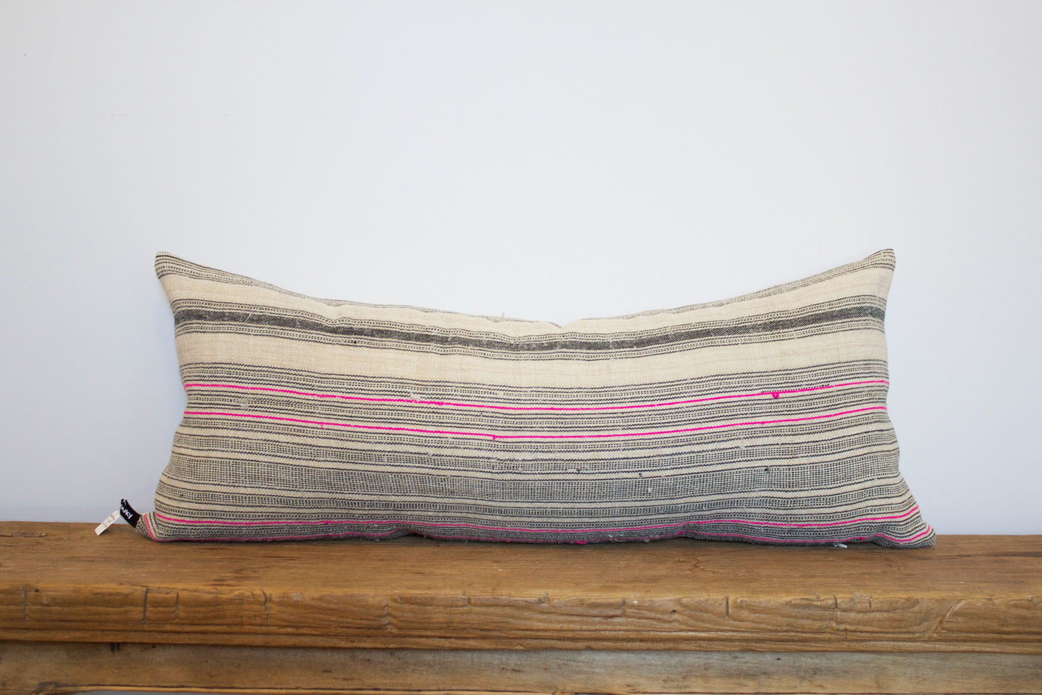Beatrice - No. 111-114   350 RMB  Pillow cover is made from handwoven hemp fabric sourced from Northern Thailand  Size: Roughly 70x30cm  Pillow back is made from a neutral cotton/linen blend  Zipper on bottom of pillow  Down insert included  Hand wash in cold water  4 available